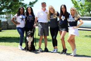 Golf Committee Chairman, Mark Meadows with Dallas Cowboy Cheerleaders.